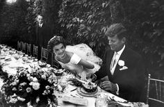 wedding of Jackie & JFK in September 1953, which was taken by Life photographer Lisa Larsen. there were 600 guests, they had 14 ushers and 10 bridesmaids andthey ate pineapple salad at their reception.