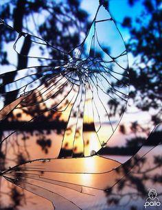 Bing Wright, sunset through the broken window