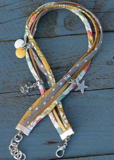 Bracelet cordon liberty 2 tours etoile blanc gris moutarde argenté doré