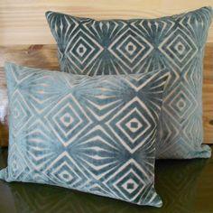 Decorative pillow cover, teal blue, cut velvet, retro diamonds. $28.00, via Etsy.