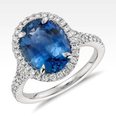 Sapphire and Micropave Diamond Halo Ring in Platinum Ring | Blue Nile