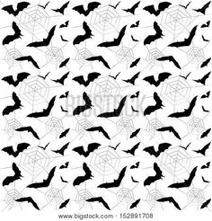 Halloween. Halloween seamless pattern. Halloween party. Halloween magic pattern. Bat and spider's web on white background. Halloween doodle Black and white color. Vector Illustration.