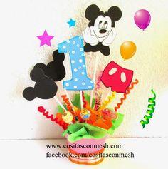Centros de mesa para cumpleaños de niños   Chicas,que les parece si seguimos con la temática de  mickey mouse para la fiesta de cumpleaños ...