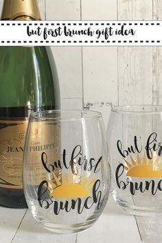 Make these fun wine glasses with the DIY and SVG file from Everyday Party Magazine #PersonalizedWineGlasses #DIY #ButFirstBrunch