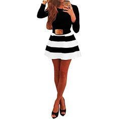 Womens Long Sleeve Black White Stripes Bodycon Swing Skater Party Short Dress S -- You can get more details by clicking on the image.