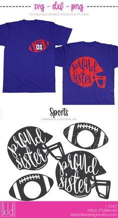Proud Football Sister SVG Files - includes 2 plain and 2 distressed helmet and football monogram combos | Kelly Lollar Designs