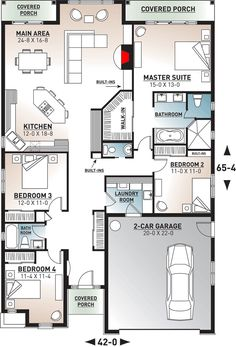 Traditional Single Story Home with a First Floor Master - floor plan - Main Level 40x60 House Plans, Modern House Floor Plans, My House Plans, Beach House Plans, Craftsman House Plans, Bedroom House Plans, Small House Plans, The Plan, How To Plan