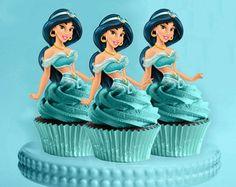Jasmine Cupcake Toppers Princess Jasmine by CreativeTouchhh Jasmine Birthday Cake, Aladdin Birthday Party, Aladdin Party, Cake Birthday, 5th Birthday, Princess Birthday, Birthday Ideas, Princess Jasmine Cake, Disney Princess Cupcakes