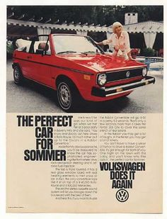 Elke Sommer VW Volkswagen Rabbit Convertible (1981) and it keeps on giving! She never stops running!