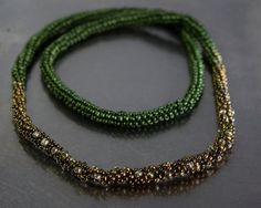 Green, silver and golden peyote necklace Silver Beads, Beaded Necklace, Metal, Bracelets, Green, Handmade, Jewelry, Beaded Collar, Schmuck