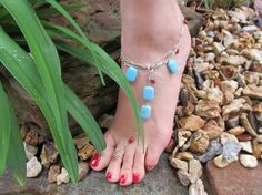 Custom Made Item for Etsy Buyer Turquoise & Coral 925 Sterling Silver Ankle Bracelet with Toe Ring by FayWestDesigns