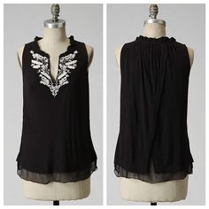 Anthropologie Black Embroidered Tank Anthropologie by RicRac. Split, chiffon-inset back. 100% Viscose. Gently worn, but still in good condition! ⚡️no trades & no paypal⚡️ Anthropologie Tops Tank Tops