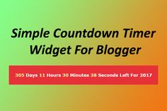 How to add a Responsive Countdown widget in Blogspot Blog - As you guys already know that, A...