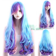 pink purple blue wig long wavy