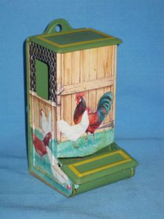 Pie Safe Rooster Tins | ... Tin Match Box Holder Rooster/Chicken Wire/Hen Box Safe! Completed