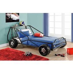 Deluxe Twin Racer Car Bed, Silver/Black