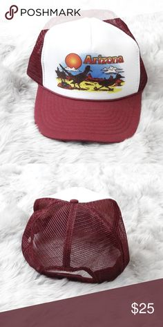 eaba339c VTG Arizona Truckers Hat In great condition cool road runner graphic  burgundy, mesh backing one size ( adult) VTG Vintage Accessories Hats