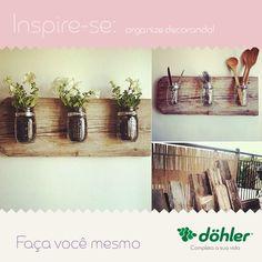 Não sabe o que fazer para reaproveitar madeiras antigas em sua casa? Nós sabemos! Você pode decorar com flores ou usar a criatividade para organizar seus utensílios domésticos. #DIY