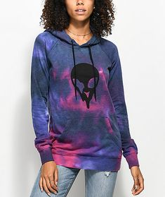 """""""Stay weird"""" and keep your style on point with the Larissani Hoodie from A-Lab. Featured in a hot pink and purple tie dye design with an alien printed on the front and """"Stay Weird"""" on the back. A-Lab's Larissani Pullover Sweatshirt offers an oversized fit Tie Dye Hoodie, Fleece Hoodie, Pullover, Best Streetwear Brands, Skater Outfits, Tie Dye Designs, Full Zip Hoodie, Hoodies, Hoodie"""