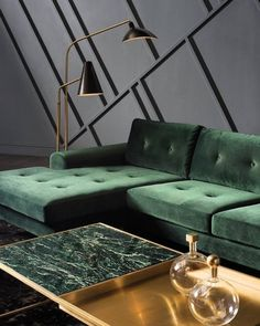 Green marble, luxury for bathroom and kitchen - In this article, we will show you green marble bathroom and kitchen ideas for this spring. Green Marble instantly provides an elegant feeling of luxury. Living Room Sofa, Interior Design Living Room, Living Room Designs, Green Living Room Furniture, Living Room Green, Living Rooms, Green Interior Design, Green Marble, Black Marble