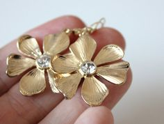 NEW gold flower earrings by anthology27 on Etsy, $15.95