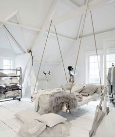 Incredible hanging bed idea in an all white bedroom with lots of cozy blankets and pillows. 26 Dizzy Interior European Style Ideas To Inspire Your Ego – Incredible hanging bed idea in an all white bedroom with lots of cozy blankets and pillows. Cute Bedroom Ideas, Cute Room Decor, Girl Bedroom Designs, Room Ideas Bedroom, Girls Bedroom, Master Bedroom, Swing In Bedroom, Bed Ideas, Modern Bedroom