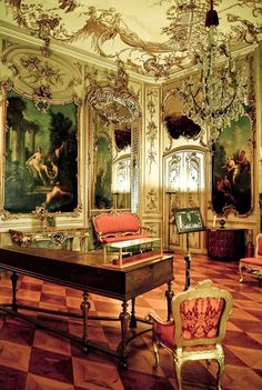 """The Music Room of the Neues Palais (New Palace) in Potsdam, Germany. The building was begun under Frederick the Great in 1763, after the end of the Seven Years' War, and was completed in 1769. """