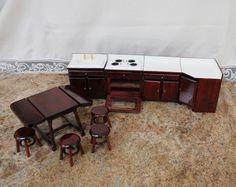 Vintage Wooden Doll House Kitchen Furniture by BurlapandLaceInBR, $14.95