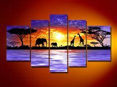 hand-painted oil wall art Giraffe savanna elephants  decoration  Landscape Framed canvas  oil painting 5pcs/set mixorde