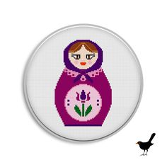 matryoshka doll cross stitch