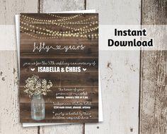 Wedding Anniversary Invitation Rustic Printable Party