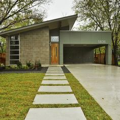 landscape architecture - 10 The Most Favorite Mid Century Modern Exterior Home Design Mid Century Modern Design, Modern House Design, Home Design, Design Ideas, Design Projects, Mid Century Modern Houses, Mid Century Modern Man Cave, Path Design, Block Design