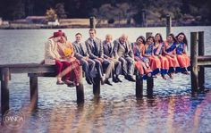 cute photo of the bridesmaids and groomsmen at an indian wedding