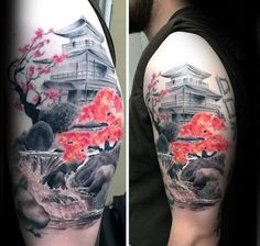 Amazing Waterfall Cherry Blossom Japanese Mens Upper Arm Tattoo With Realistic Design