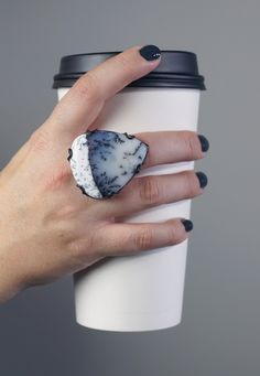 Contra ring / black, white, and grey dendritic opal statement ring handcrafted by Megan Auman
