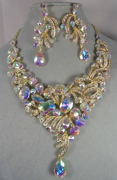 Gold Tone AB & Crystal Rhinestone Necklace Tear Round Square Stones Statement #ChristinaCollection