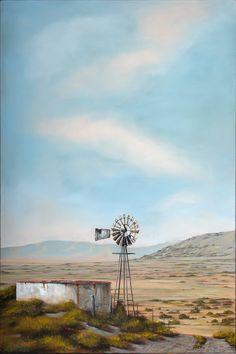 #701_Karoo_Windmill_bron Watercolor Projects, Watercolor Landscape, Landscape Art, Landscape Paintings, Landscape Photography, Art Photography, Windmill Art, Farm Windmill, Old Windmills