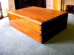 Antique Victorian Walnut hinged wooden box jewelry vintage storage desk…