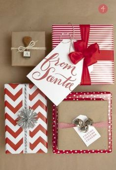 Christmas Gift Wrapping Ideas (and Tags too : 15 Christmas Wrapping and Tags Ideas. The weekly Round Up Noel Christmas, All Things Christmas, Christmas Crafts, Christmas Decorations, Christmas Candy, Creative Gift Wrapping, Creative Gifts, Wrapping Ideas, Paper Wrapping