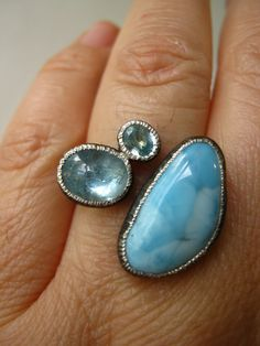 Items similar to Trio Ring - with Larimar, Aquamarine cabochon, Natural blue Zircon - Birch Hammer Texture, Black oxidized, Adjustable Sturdy Sterling SILVER on Etsy Blue Zircon, Aquamarine Blue, Gems Jewelry, Jewelery, Jewelry Box, Rough Diamond, Statement Rings, Custom Jewelry, Gold