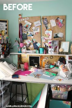 Organizing my craft room - A girl and a glue gun Craft Room Storage, Craft Organization, Craft Desk, Organizing Life, Large Pegboard, Wallpaper Crafts, Best Concealed Carry, Custom Glock, Flag Photo
