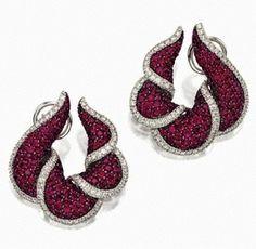Diamond and Ruby Earclips