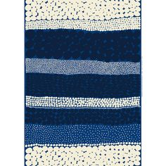 Stripes and spots come together at last in the beautiful blue hues of the Marimekko Jurmo Blue/White Fabric. A bold print, Jurmo's expansive pattern is perfect for tablecloths and large wall hangings,