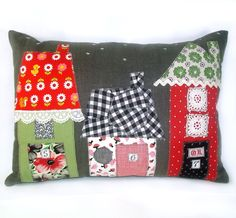 Vintage Fabric Applique House Pillow