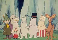 A Moomin family portrait, from the left, Snufkin (Moomins bestfriend!), down at the front is Little My (a friend of the Moomin's), behind Little My is Snorkmaiden (Moomin's friend, and girlfriend some would say!). Then right at the back is The Hemulen, next to Snorkmaiden is Moomin (otherwise known as Moomintroll!) and he's standing next to Pappamoomin his Dad, and next to him is Mammamoomin his Mum!! Then right on the end is Sniff (another great friend of Moomin and all!)....