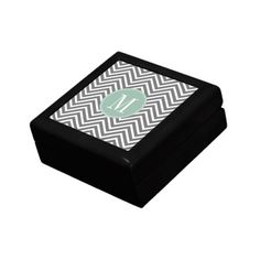 Charcoal and Mint Green Chevrons Custom Monogram Keepsake Box Wedding Gift Boxes, Custom Wedding Gifts, Wedding Favors, Wedding Ideas, Golden Oak, Monogram Wedding, Monogram Gifts, Keepsake Boxes, Mint Green