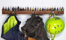 Long Hardwood Shelf for 25 to 33 Lego® Minifigs with Hangers Lego Display Shelf, Lego Shelves, Recycling, Lego Minifigs, Lego Blocks, Brollies, Rustic Shelves, Storage Baskets, Storage Ideas