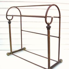 SOLD - Vintage Brass Quilt Rack Blanket Stand Metal Valet by WhimzyThyme