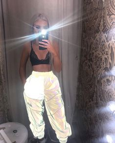 Shine Bright Like A Diamond Reflective Pants cuz youre taking all the shine babe Reach clout 9 in these dope cargo pants that have a drawstring waist two pocket deetz and are reflective AF. Edgy Outfits, Cool Outfits, Summer Outfits, Fashion Outfits, Fashion Hacks, Neon Party Outfits, Style Fashion, Fashion Tips, Pinke Outfits