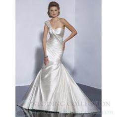 Ball Gown Sheath/Column Trumpet/Mermaid Satin One Shoulder Sweep/Brush Train Chapel Train Wedding Dress TWD2369